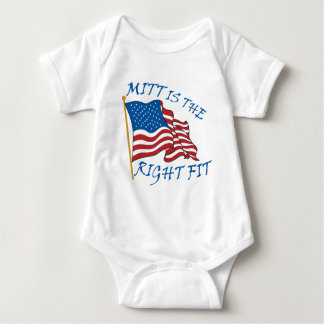 mitt is the right fit baby bodysuit