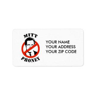 MITT PHONEY ADDRESS LABEL