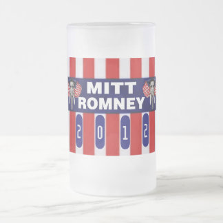 Mitt Romeny GOP Mascot Frosted Glass Beer Mug