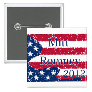 Mitt Romney 2012 Altered US Flag 2 Inch Square Button
