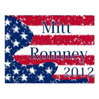 Mitt Romney 2012 Altered US Flag Postcard