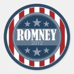 Mitt Romney 2012 - barras y estrellas retras Pegatina Redonda