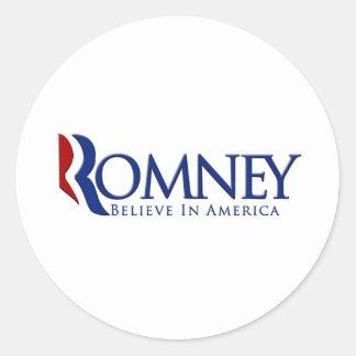 Mitt Romney 2012 cree en América Pegatinas Redondas