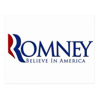 Mitt Romney 2012 cree en América Tarjetas Postales