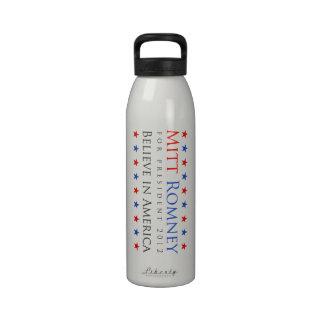Mitt Romney 2012 estrellas azules blancas rojas Botellas De Agua Reutilizables