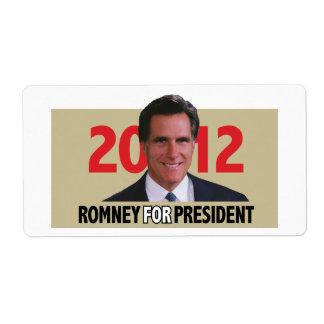 Mitt Romney 2012 Etiquetas De Envío