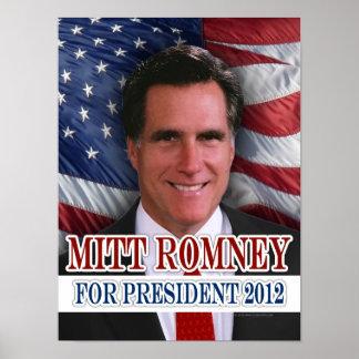 Mitt Romney 2012 fondos de la bandera que agitan Póster