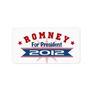 Mitt Romney 2012 Custom Address Label