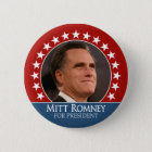 Mitt Romney 2012 - photo pinback with stars - red Button