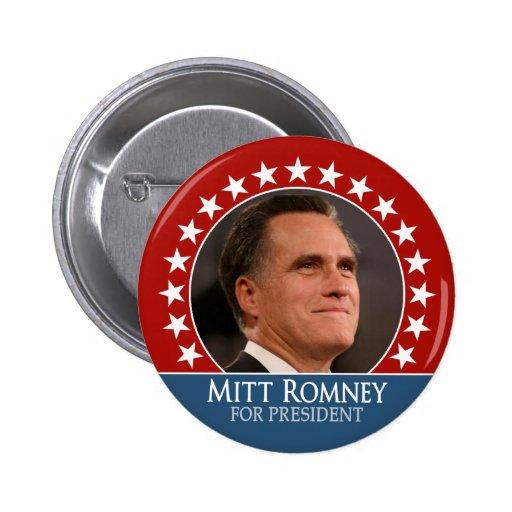 Mitt Romney 2012 - pinback de la foto con las estr Pin