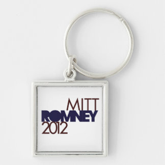 Mitt Romney 2012 Silver-Colored Square Keychain