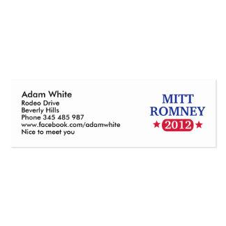 Mitt Romney 2012 Plantilla De Tarjeta De Negocio