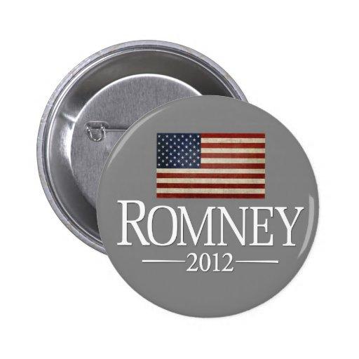 Mitt Romney 2012 - USA Flag Pinback Button