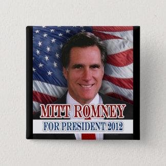 Mitt Romney 2012 Waving Flag Background Button