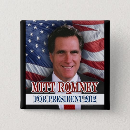 Mitt Romney 2012 Waving Flag Background Button