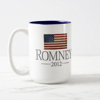 Mitt Romney - bandera de los E.E.U.U. Taza Dos Tonos