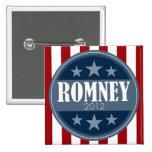 Mitt Romney - barras y estrellas retras Pin Cuadrada 5 Cm