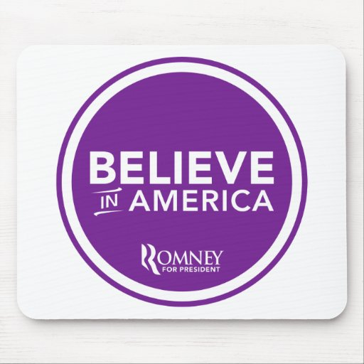 Mitt Romney Believe In America 2012 (Purple) Mousepad