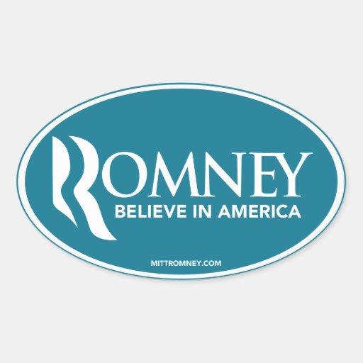 Mitt Romney Believe In America (Blue Oval Sticker) Oval Sticker