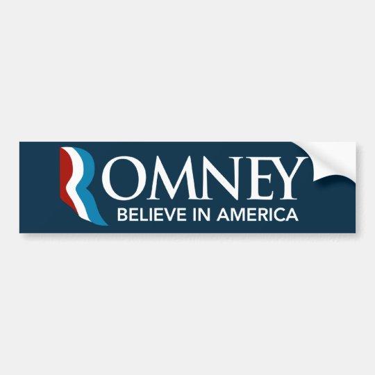 Mitt Romney Believe In America Bumper Sticker Blue