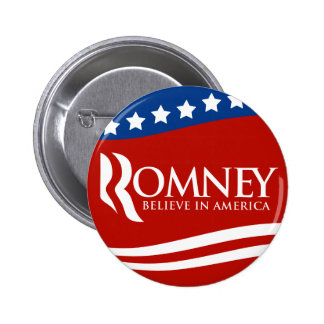 Mitt Romney Believe In America Flag Pinback Button