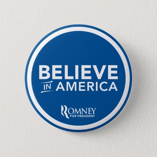 Mitt Romney Believe In America Logo (Blue) Button