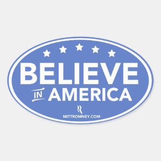 Mitt Romney Believe In America Oval Sticker (Blue)