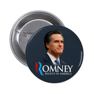 Mitt Romney Believe In America Portrait Dark Blue Pinback Button