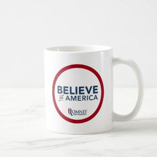 Mitt Romney Believe In America (Red and White) Coffee Mug