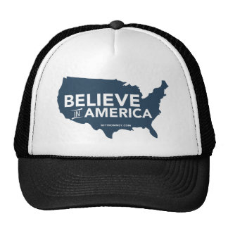 Mitt Romney Believe In America USA Map Blue Mesh Hats