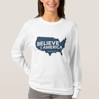 Mitt Romney Believe In America USA Map (Blue) T-Shirt