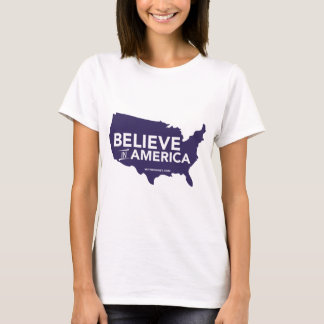 Mitt Romney Believe In America USA Map (Purple) T-Shirt