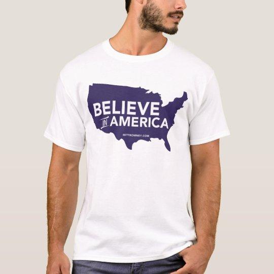 Mitt Romney Believe In America USA Map (Purple) T-Shirt