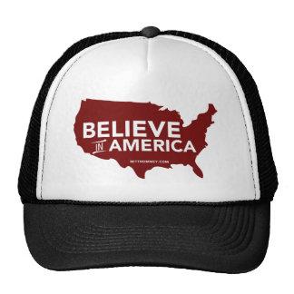 Mitt Romney Believe In America USA Map Red Trucker Hats