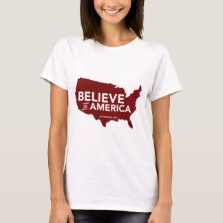 Mitt Romney Believe In America USA Map (Red) T-Shirt