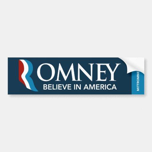 Mitt Romney Bumper Sticker Believe In America Blue