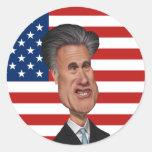 Mitt Romney Caricature USA Round Stickers
