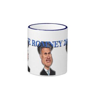 """Mitt Romney Caricature """"Vote Romney 2012"""" Ringer Mug"""