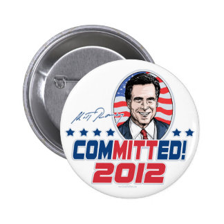 Mitt Romney ComMITTed 2012 Gear Pinback Button