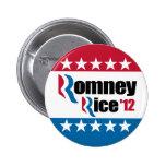 Mitt Romney Condi Rice 2012 Pinback Buttons