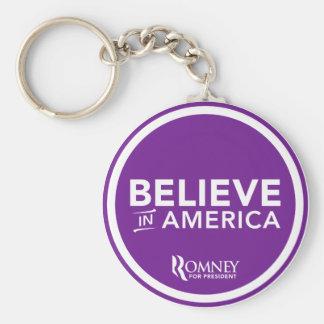 Mitt Romney cree en América 2012 (la púrpura) Llavero Redondo Tipo Pin