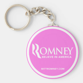 Mitt Romney cree en América (el rosa) Llavero Redondo Tipo Pin