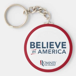 Mitt Romney cree en América (rojo y blanco) Llavero Redondo Tipo Pin