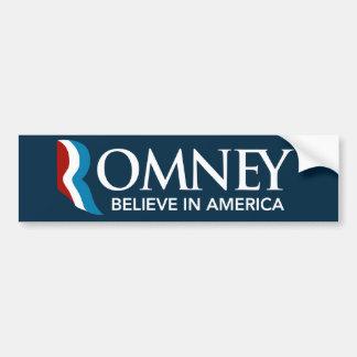 Mitt Romney cree en azul de la pegatina para el pa Pegatina De Parachoque