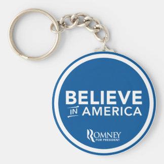 Mitt Romney cree en el logotipo de América (azul) Llavero Redondo Tipo Pin