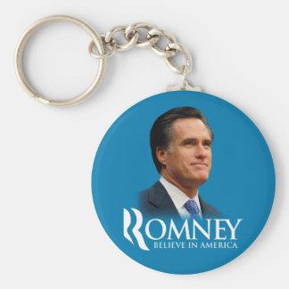 Mitt Romney cree en el retrato de América azul cla Llavero Redondo Tipo Pin