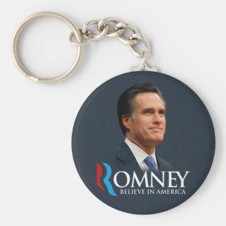 Mitt Romney cree en el retrato de América azul mar Llavero Redondo Tipo Pin