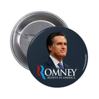 Mitt Romney cree en el retrato de América azul mar Pins