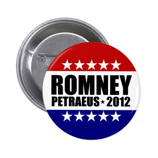 Mitt Romney David Petraeus 2012 Pin