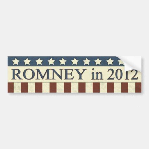 Mitt Romney en 2012 Etiqueta De Parachoque